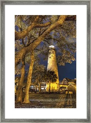 Night Lighthouse Framed Print by Debra and Dave Vanderlaan