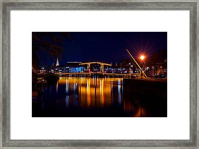 Night Lights On The Amsterdam Canals 1. Holland Framed Print by Jenny Rainbow