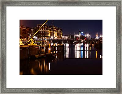 Night Lights On The Amsterdam Canals 2. Holland Framed Print by Jenny Rainbow