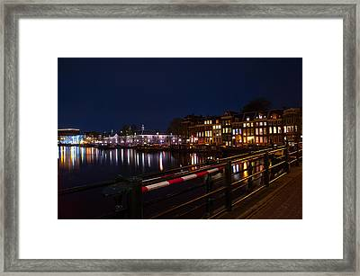 Night Lights On The Amsterdam Canals 5. Holland Framed Print by Jenny Rainbow