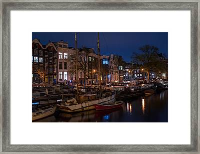 Night Lights On The Amsterdam Canals 7. Holland Framed Print by Jenny Rainbow