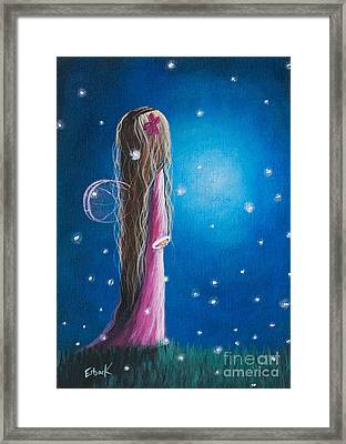 Original Fairy Artwork - Night Of 50 Wishes Framed Print by Shawna Erback