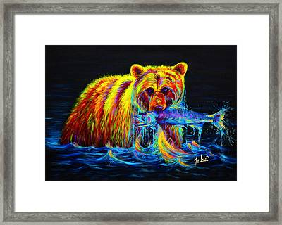 Night Of The Grizzly Framed Print by Teshia Art