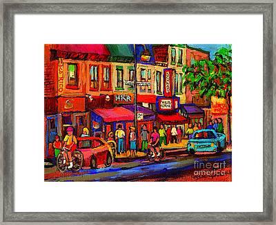 Night Riders On The Boulevard Rue St Laurent And Napoleon Deli Schwartz Montreal Midnight City Scene Framed Print by Carole Spandau