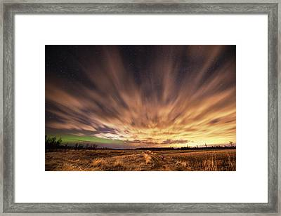 Night Sky With Aurora Borealis  Thunder Framed Print by Susan Dykstra