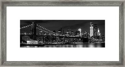 Night-skyline New York City Bw Framed Print by Melanie Viola