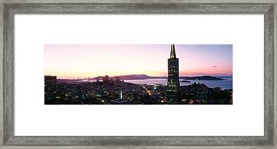 Night Skyline With View Of Transamerica Framed Print by Panoramic Images
