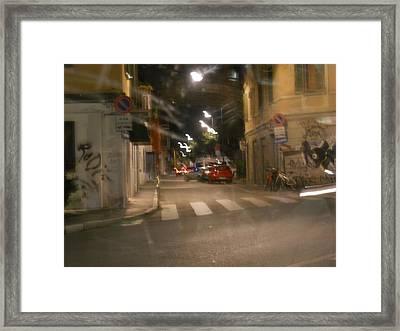 Night Street In Milan Framed Print by Dotti Hannum