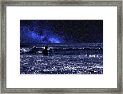 Night Surfer Framed Print by Laura Fasulo