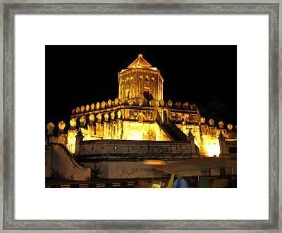 Night Temple Framed Print by Oliver Johnston