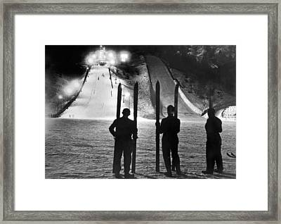 Night Time At The Garmisch Framed Print by Underwood Archives