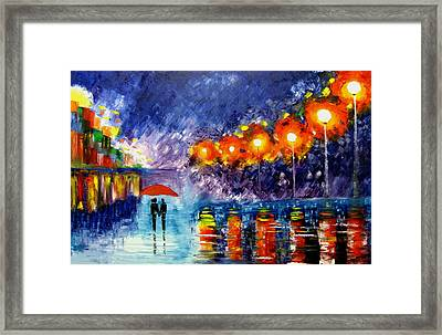 Night Time Walk Framed Print by Mariana Stauffer