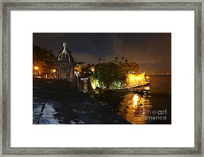 Night View Of Old San Juan Framed Print by George Oze
