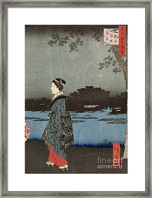 Night View Of Sanya Canal And Matsuchi Hill Framed Print by Hiroshige