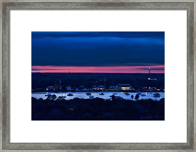 Night View Of St. Augustine Bayfront South Framed Print by Stacey Sather