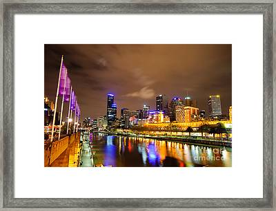 Night View Of The Yarra River And Skyscrapers - Melbourne - Australia Framed Print by David Hill