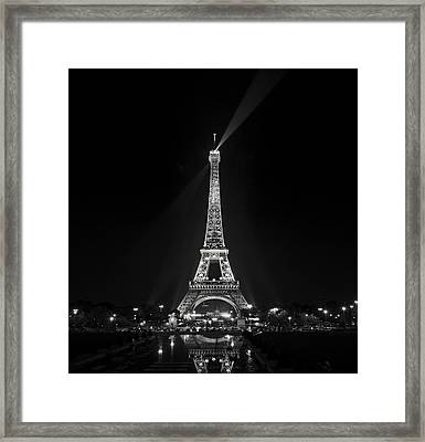Night View Over The Eiffel Tower Framed Print by Antonio Jorge Nunes