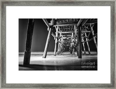 Night View Under San Clemente Pier Framed Print by Ana V Ramirez