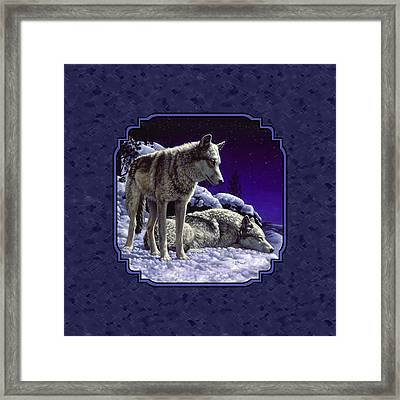 Night Wolves Painting For Pillows Framed Print by Crista Forest