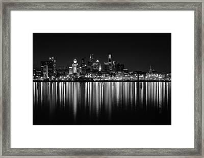 Nightfall In Philly B/w Framed Print by Jennifer Ancker