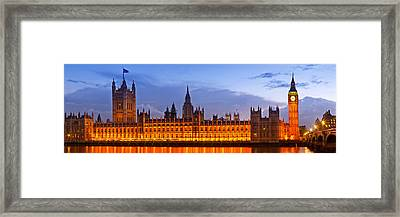 Nightly View London Houses Of Parliament Framed Print by Melanie Viola