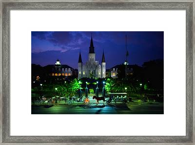 Nighttime Over Jackson Square In New Orleans Framed Print by Mountain Dreams