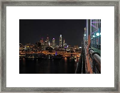 Nighttime Philly From The Ben Franklin Framed Print by Jennifer Ancker