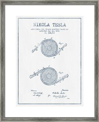 Nikola Tesla Dynamo Patent Drawing From 1886 - Blue Ink Framed Print by Aged Pixel