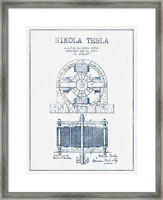 Nikola Tesla Electro Magnetic Motor Patent Drawing From 1888 - B Framed Print by Aged Pixel