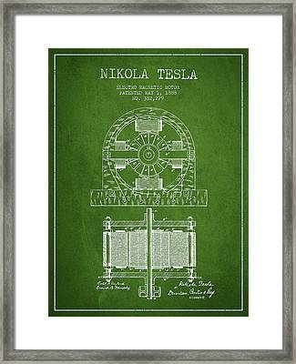 Nikola Tesla Electro Magnetic Motor Patent Drawing From 1888 - G Framed Print by Aged Pixel