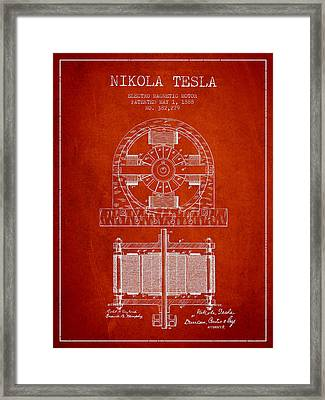 Nikola Tesla Electro Magnetic Motor Patent Drawing From 1888 - R Framed Print by Aged Pixel