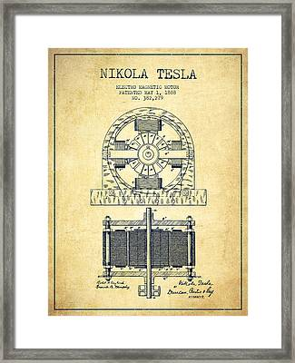 Nikola Tesla Electro Magnetic Motor Patent Drawing From 1888 - V Framed Print by Aged Pixel
