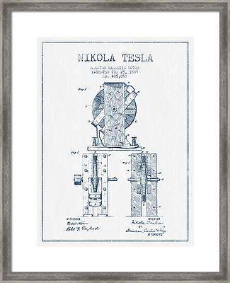 Nikola Tesla Electro Magnetic Motor Patent Drawing From 1889  -  Framed Print by Aged Pixel