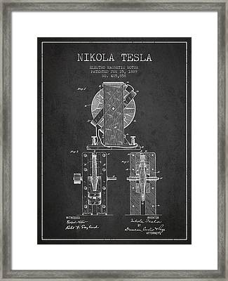 Nikola Tesla Electro Magnetic Motor Patent Drawing From 1889 - D Framed Print by Aged Pixel