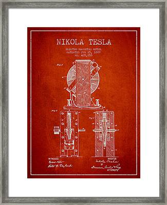 Nikola Tesla Electro Magnetic Motor Patent Drawing From 1889 - R Framed Print by Aged Pixel