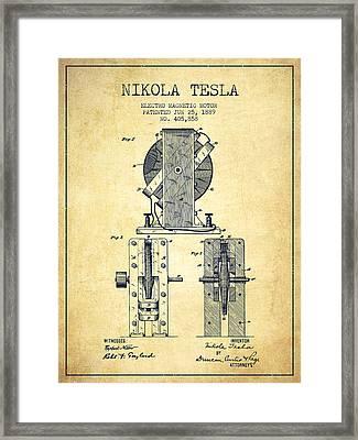 Nikola Tesla Electro Magnetic Motor Patent Drawing From 1889 - V Framed Print by Aged Pixel