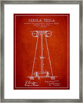 Nikola Tesla Energy Apparatus Patent Drawing From 1914 - Red Framed Print by Aged Pixel