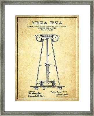 Nikola Tesla Energy Apparatus Patent Drawing From 1914 - Vintage Framed Print by Aged Pixel