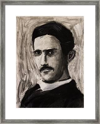 Nikola Tesla In Coat Charcoal Drawing Framed Print by Don Lee