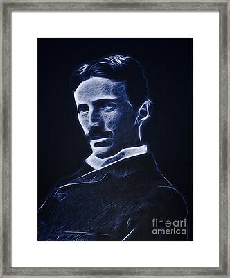 Nikola Tesla Neon Portrait Framed Print by - BaluX -