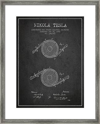Nikola Tesla Patent Drawing From 1886 - Dark Framed Print by Aged Pixel