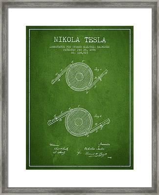 Nikola Tesla Patent Drawing From 1886 - Green Framed Print by Aged Pixel