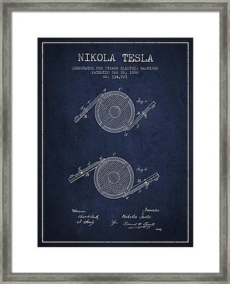 Nikola Tesla Patent Drawing From 1886 - Navy Blue Framed Print by Aged Pixel