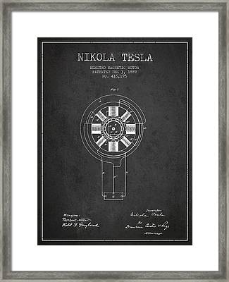 Nikola Tesla Patent Drawing From 1889 - Dark Framed Print by Aged Pixel