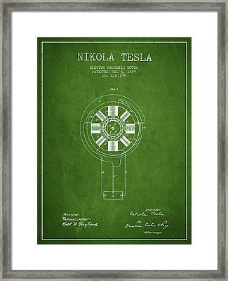 Nikola Tesla Patent Drawing From 1889 - Green Framed Print by Aged Pixel