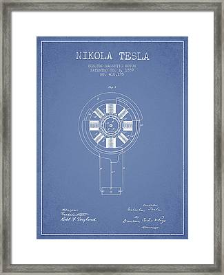 Nikola Tesla Patent Drawing From 1889 - Light Blue Framed Print by Aged Pixel