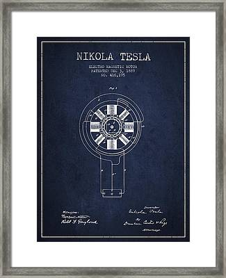 Nikola Tesla Patent Drawing From 1889 - Navy Blue Framed Print by Aged Pixel