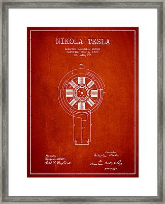 Nikola Tesla Patent Drawing From 1889 - Red Framed Print by Aged Pixel