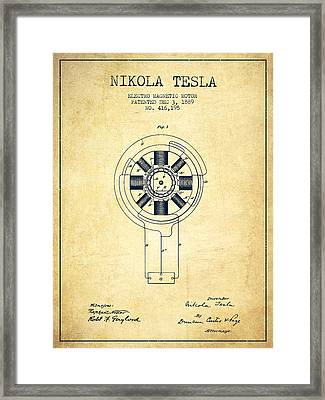 Nikola Tesla Patent Drawing From 1889 - Vintage Framed Print by Aged Pixel