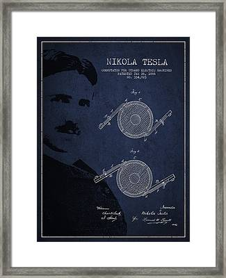 Nikola Tesla Patent From 1886 Framed Print by Aged Pixel